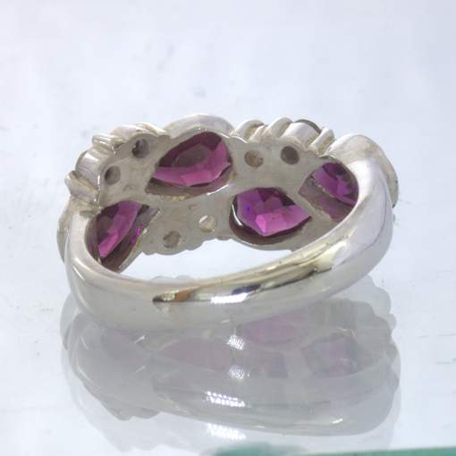 Red Purple Rhodolite Garnet Pears White Sapphire Sterling Ring size 7 Design 44