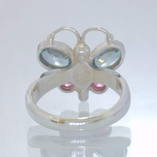 Blue Zircon Pink Spinel 925 Silver Butterfly Ring size 6.25 Ladies Design 193