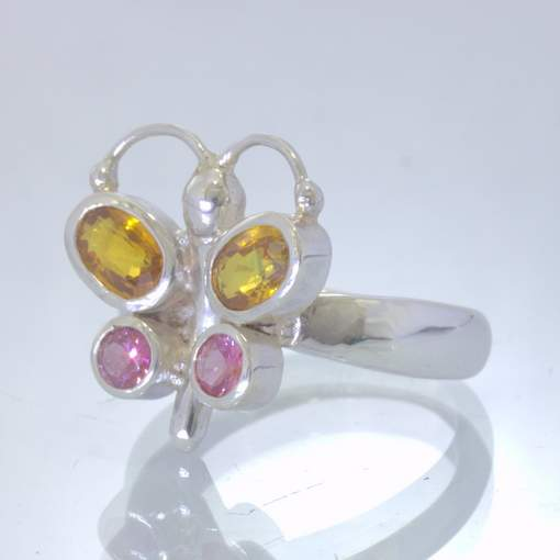 Yellow Sapphire Pink Spinel Sterling Butterfly Ladies Ring Size 7.25 Design 193