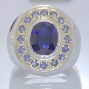 Lab Blue Sapphire 925 Silver Sapphire Halo Accents Gents Ring size 13 Design 150