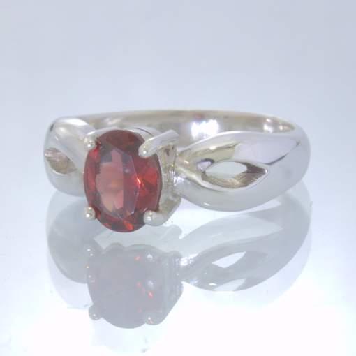Orange Red Garnet Oval Gemstone 925 Silver Ring size 6.75 Ajoure Stack Design 7