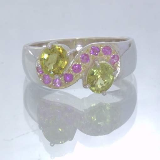 Mali Garnet Pink Sapphire 925 Silver Ladies Statement Ring size 6.25 Design 438