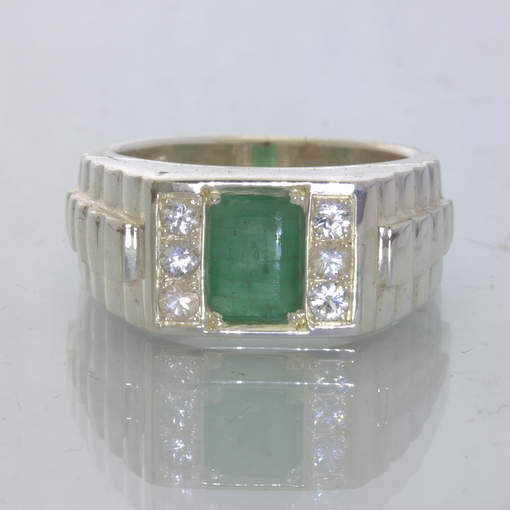 Green Zambia Emerald White Sapphire Silver Ring Size 9.25 Watchband Design 136
