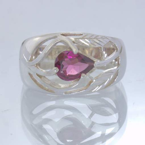 Raspberry Rhodolite Garnet Pear Silver Ajoure Filigree Ring size 9 Design 656
