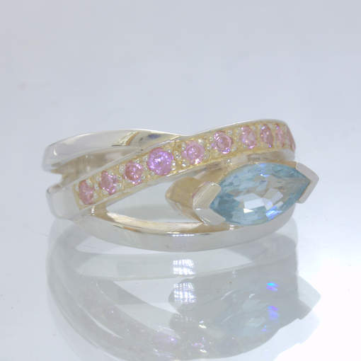Blue Beryl Aquamarine Pink Tourmaline Sterling Statement Ring size 8.5 Design 90