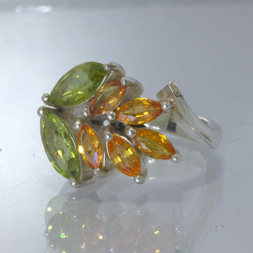 Green Peridot Orange Sapphire Marquise Flower 925 Ring Size 7 Floral Design 40