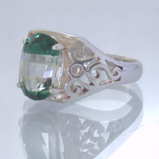 Bi Color Green White Lab Quartz Silver Ring size 7.25 Filigree Ajoure Design 1