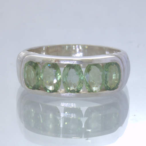 Green Sapphire Oval Gemstones 925 Silver Unisex Channel Ring size 8.25 Design 6
