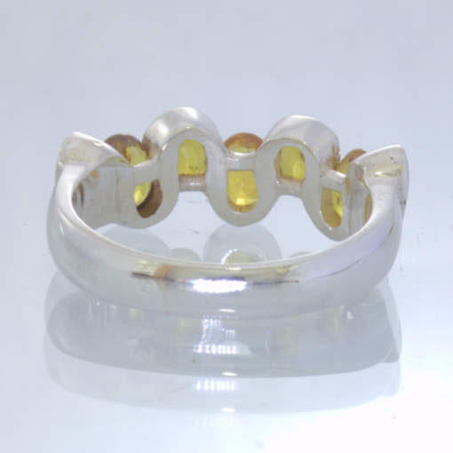 Yellow Sapphire Ovals 925 Silver Unisex Five Stone Ring size 6.5 Wavy Design 123