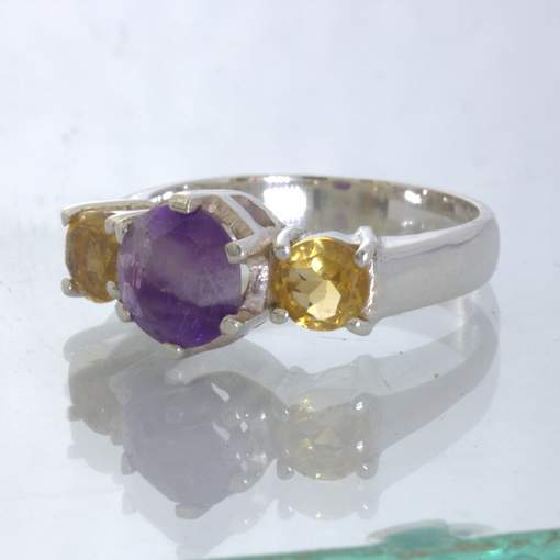 Chevron Burmese Amethyst Agate Yellow Citrine Sterling Ring size 7.75 Design 658