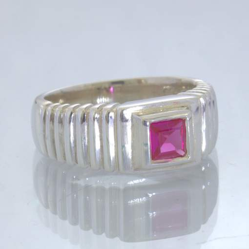Lab Created Ruby Pink Sapphire 925 Silver Ring size 6 Square Stairs Design 33