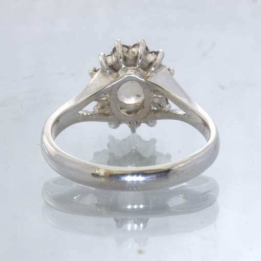 Oregon Sunstone Cognac Diamond Halo 925 Silver Ladies Ring size 7.5 Design 54