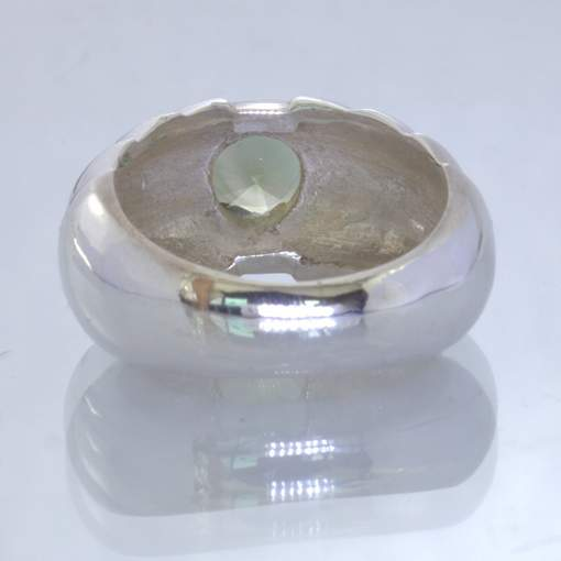 Blue Green Lab Quartz Round Handmade 925 Silver Ring size 7 Stair Step Design 27