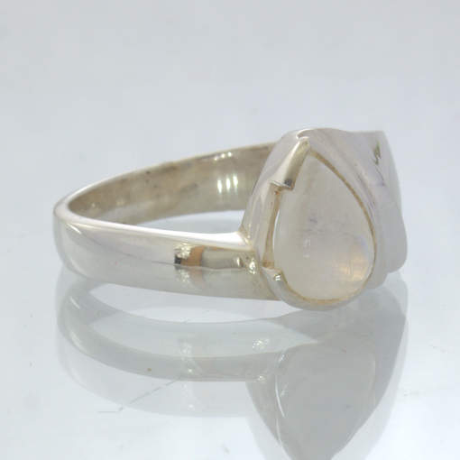 White Blue Moonstone Pear Handmade Silver Cascading Ring size 6.75 Design 195