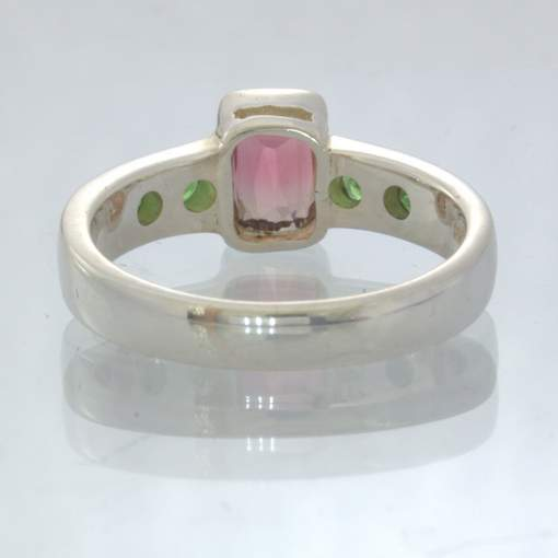 Bi Color Tourmaline Tsavorite Green Garnet 925 Silver Ring size 8.25 Design 655