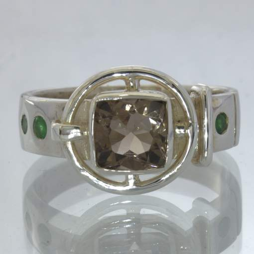 Smoky Quartz Green Tsavorite Garnet Silver Belt Style Ring size 12.5 Design 3
