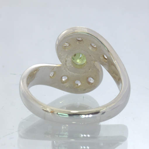 Demantoid Garnet White Sapphire Handmade Silver Sweeping Ring size 6 Design 21