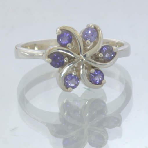 Iolite Blue Violet Gemstone 925 Silver 6 Blade Pinwheel Ring size 7 Design 188