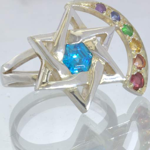 Blue Topaz Hexagram Star Rainbow Accents Silver Ladies Ring size 7.5 Design 215