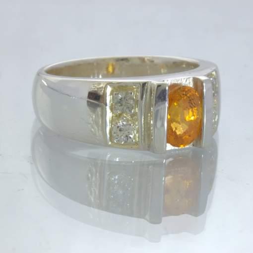 Fanta Orange Spessartite Garnet White Sapphire Silver Ring size 7.75 Design 207