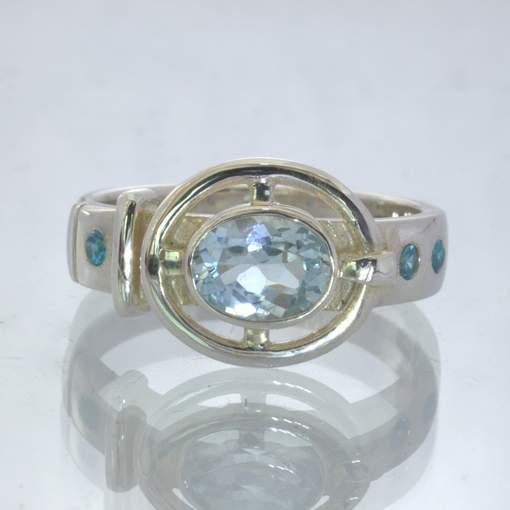 Blue Topaz Swiss Blue Topaz Gems 925 Silver Ring size 9.5 Unisex Belt Design 3