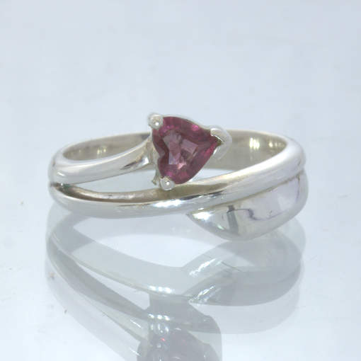 Spinel Pinkish Purple Burma Gemstone Heart Sterling Silver Ring size 6 Design 15