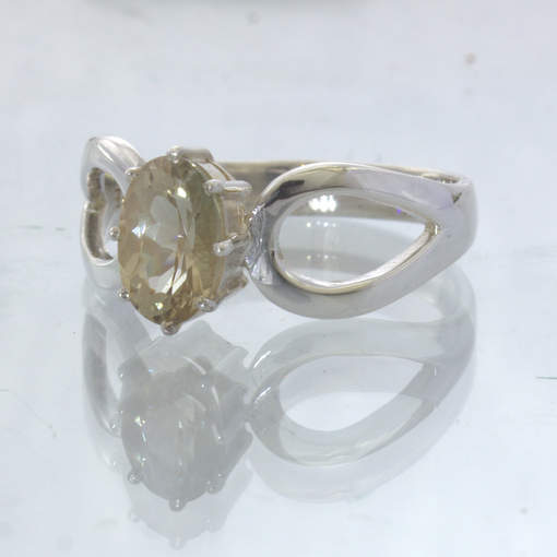Yellow Oregon Sunstone Oval 925 Silver Ajoure 8 Prong Ring size 7.75 Design 532