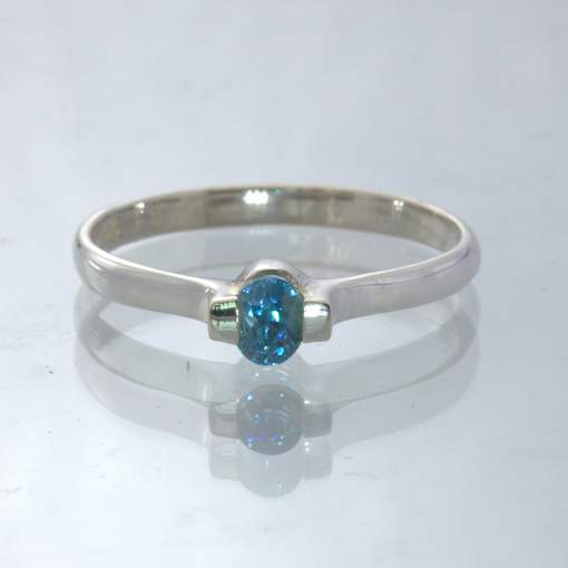 Windex Blue Zircon Oval 925 Silver Stackable Solitaire Ring size 9.25 Design 55