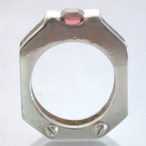 Pink Tourmaline Silver Mechanical Style Screw Heads Ring size 8.25 Design 397