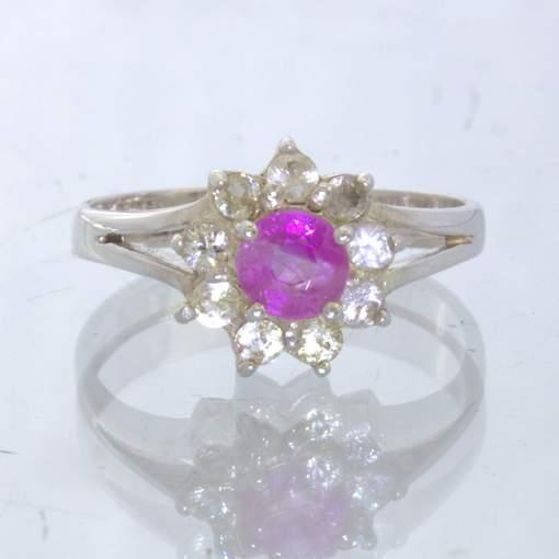 Pink Burma Sapphire Round White Sapphire Halo 925 Ladies Ring size 6 Design 54