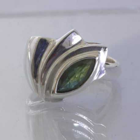 Green Blue Party Sapphire Marquise 925 Silver Ring size 9.75 Cascade Design 195