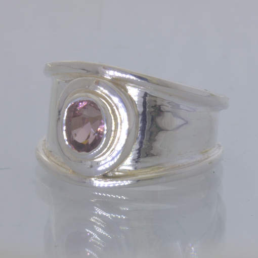Pink Purple Burma Spinel Oval 925 Silver Ring size 7 Solitaire Wide Design 93