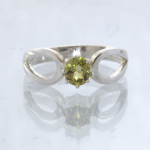 Mali Garnet Yellow Oval Silver Ajoure Solitaire 8 Prong Ring size 5.5 Design 532