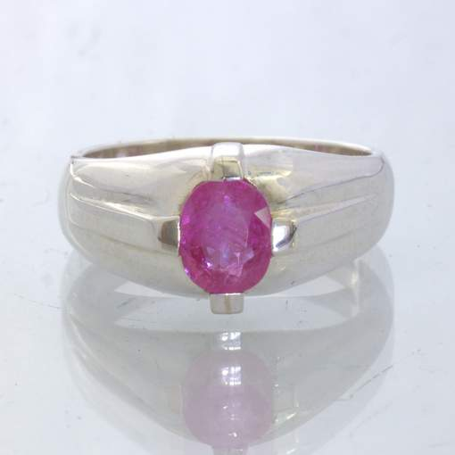 Pink Natural Ruby Handmade 925 Silver Unisex Solitaire Ring size 8.25 Design 327
