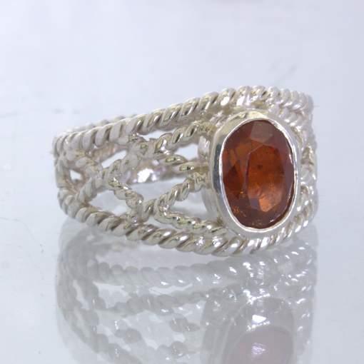 Red Orange Spessartite Garnet Oval Filigree Silver Wire Ring size 7.5 Design 86