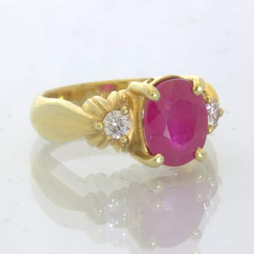Red Burma Ruby White Zircons Handmade 18K Gold Ladies Ring size 7 Design 661
