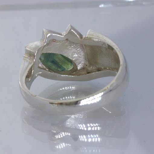 Bi Color Green Blue Sapphire Marquise Silver Ring size 9.5 Cascading Design 38