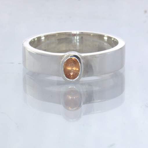 Orange Burma Spinel Silver Unisex Stacking Solitaire Ring size 5.25 Design 530