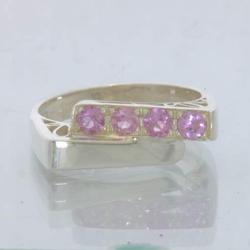 Pink Ceylon Sapphire 925 Silver Ring size 8.5 Filigree Overlapping Design 320