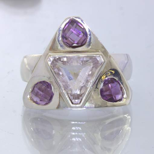 White Topaz Trillion Purple Amethyst 925 Silver Ring size 8.75 Shield Design 381