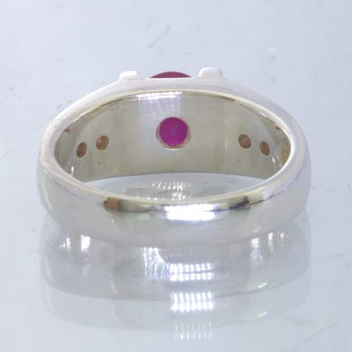 Red Ruby Oval Pink Sapphire Handmade 925 Silver Unisex Ring size 6.5 Design 179
