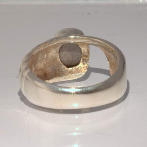 Gray Burma Star Sapphire 7 mm Round Sterling Silver Ring Size 7 Stairs Design 19