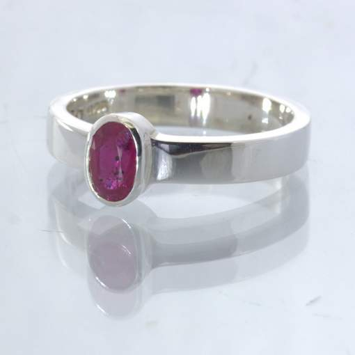 Natural Red Ruby 925 Silver Unisex Stacking Ring size 8.25 Stackable Design 530