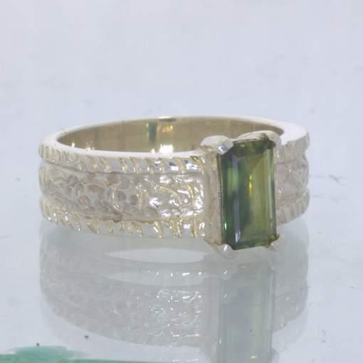 Green Sapphire Rectangle Handmade 925 Silver Ring size 8.5 Texture Design 161