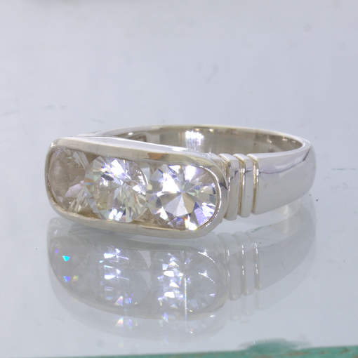 Clear White Cambodia Round Topaz 925 Silver Channel Set Ring size 9.75 Design 6