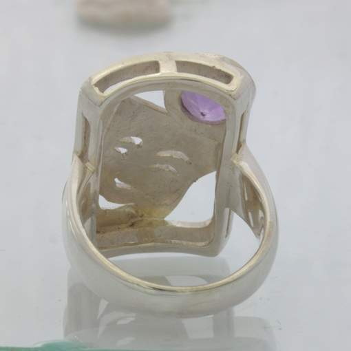Purple Amethyst 925 Silver Ring size 7.75 Happy Theater Mask Shield Design 14