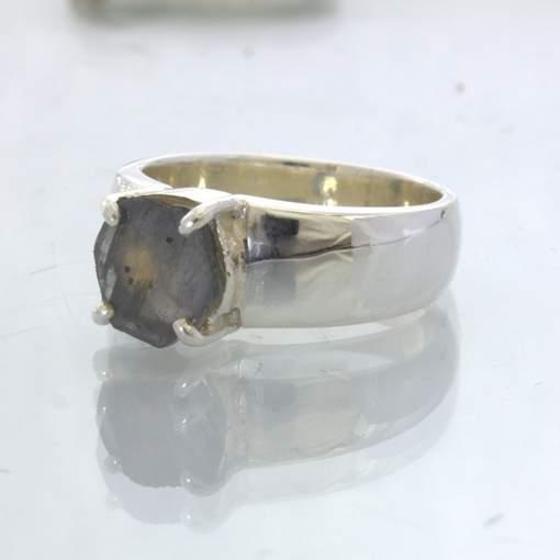 Blue Sapphire Hexagonal Natural Crystal Handmade Silver Ring size 7 Design 17