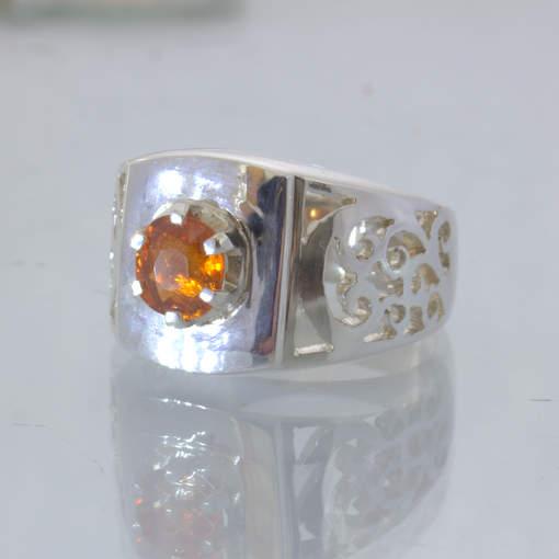 Fanta Orange Spessartite Garnet Silver Filigree Ajoure Ring size 6 Design 113