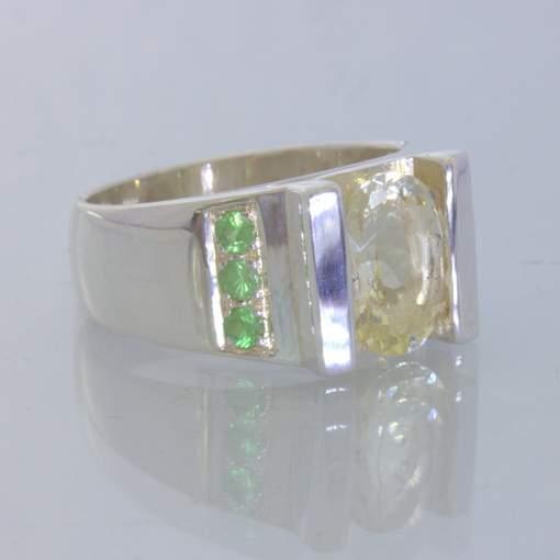 Yellow Labradorite Green Tsavorite Garnet 925 Sterling Ring size 9.5 Design 659