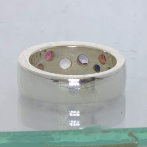 Pink White Spinel Blue Sapphire Sterling Unisex Ring Size 8 Flat Band Design 92
